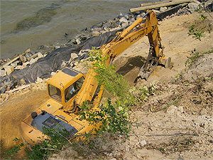Low Country Construction LLC, performing revetment services in Yorktown, Virginia